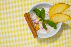 Homemade peach yogurt Royalty Free Stock Images