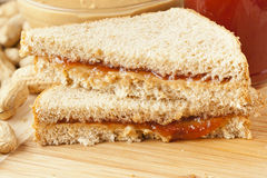 Homemade Peanut Butter and Jelly Sandwich Stock Photography
