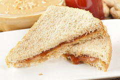 Homemade Peanut Butter and Jelly Sandwich. Fresh Homemade Peanut Butter and Jelly Sandwich stock photography