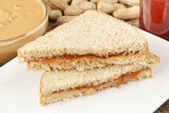 Homemade Peanut Butter and Jelly Sandwich Royalty Free Stock Photos