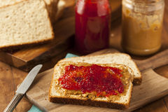 Homemade Peanut Butter and Jelly Sandwich Stock Images