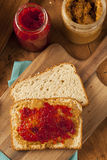 Homemade Peanut Butter and Jelly Sandwich Royalty Free Stock Photography
