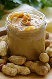 Homemade peanut butter with whole nuts Royalty Free Stock Images