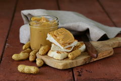 Homemade peanut butter with whole nuts Royalty Free Stock Photo
