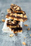Homemade peanut caramel and chocolate bars Royalty Free Stock Photos