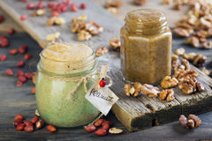 Homemade peanut and walnut butter. Royalty Free Stock Images