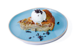 Homemade pear cake with ice cream covered by chocolate chips Stock Image