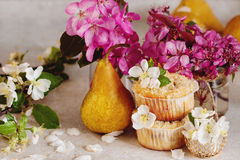 Homemade pear and caramel muffins Royalty Free Stock Images