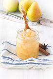 Homemade pear jam in jar Royalty Free Stock Images
