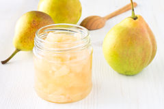 Homemade pear jam in jar Stock Photo
