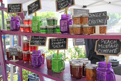 Homemade Pepper Jelly Chutney Salsa at Farmers Market Stock Image