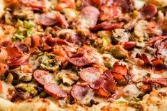 Homemade pepperoni pizza in carton box Stock Photos