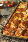 Homemade Pepperoni Sicilian Pan Pizza Royalty Free Stock Images