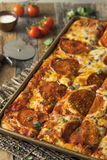 Homemade Pepperoni Sicilian Pan Pizza Stock Images
