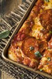 Homemade Pepperoni Sicilian Pan Pizza Stock Image