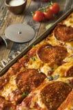 Homemade Pepperoni Sicilian Pan Pizza Royalty Free Stock Image