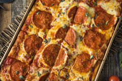 Homemade Pepperoni Sicilian Pan Pizza Royalty Free Stock Photography