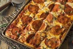 Homemade Pepperoni Sicilian Pan Pizza. Ready to Eat stock photos