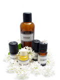 Homemade perfume. Bottles of aroma oil which are used for homemade perfume making Royalty Free Stock Photo