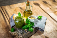 Homemade Pesto alla Genovese. On wooden background Stock Image