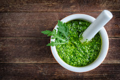 Homemade pesto of rucola Stock Photo