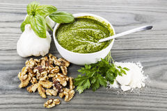 Homemade Pesto Sauce Stock Photos