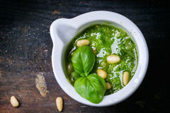Homemade pesto sauce Royalty Free Stock Photo