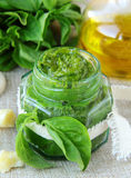 Homemade pesto sauce of green basil Royalty Free Stock Images