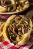 Homemade Philly Cheesesteak Sandwich. With Onions and Peppers Royalty Free Stock Photos