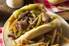 Homemade Philly Cheesesteak Sandwich Stock Photos