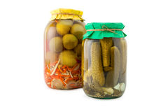Homemade pickled tomatoes and cucumbers Royalty Free Stock Photography