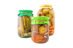 Homemade pickled tomatoes and cucumbers Royalty Free Stock Image