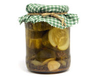 Homemade pickles being preserved Royalty Free Stock Images