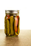 Homemade pickles in mason jars Royalty Free Stock Images