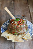 Homemade Pico De Gallo Salsa with chips Royalty Free Stock Photography