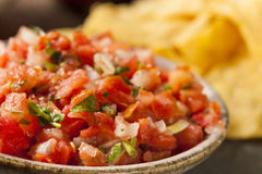 Homemade Pico De Gallo Salsa and Chips Royalty Free Stock Images