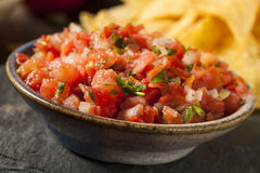 Homemade Pico De Gallo Salsa and Chips Royalty Free Stock Image