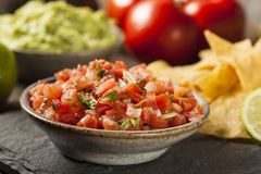 Homemade Pico De Gallo Salsa and Chips Royalty Free Stock Photography