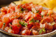 Homemade Pico De Gallo Salsa and Chips. Ready to Eat royalty free stock photos