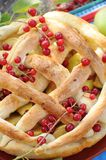 Homemade pie with apple and red cherry Stock Photography