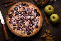 Homemade pie with apples and blackberry on dark stone background. Royalty Free Stock Photos