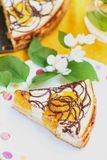 Homemade pie with apricots and chocolate stock images