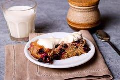 Homemade pie with black currant and cream fresh, horizontal Stock Photo