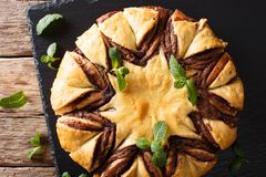 homemade pie with chocolate cream is decorated with mint close-up. horizontal top view stock image