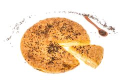 Homemade pie with cumin on white background Royalty Free Stock Photos