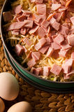 Homemade pie of eggs, broccoli, ham and cheese. Royalty Free Stock Photos
