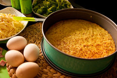 Homemade pie of eggs, broccoli, ham and cheese. Royalty Free Stock Photo