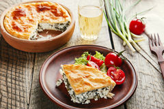 Homemade pie with feta cheese and spinach Stock Images