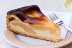 Homemade pie with fresh pears , cottage cheese stock photo