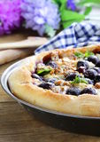 Homemade pie  with grapes and blue cheese Royalty Free Stock Photos